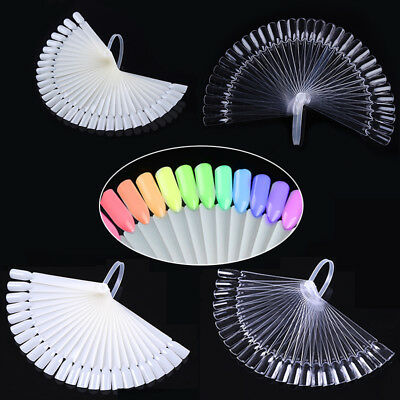 20/32Pcs Color Card False Fake Nail Tips Fan Transparent White Practice Display
