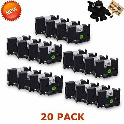 20Pack Black on White 9mm TZe Tape, TZ221 TZe221 P-Touch Label Tape Compatible x