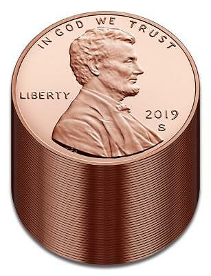 "2019 ""S"" Lincoln Penny Union Shield Cent, Gem Proof, Roll/Lot of 40"
