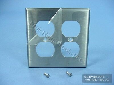 2 Gang Stainless Steel Outlet Cover Duplex Receptacle Wall Plate