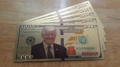 Lot of (5) Donald Trump 24k Gold Foil $1000. For Collectors Only, No Cash Value!