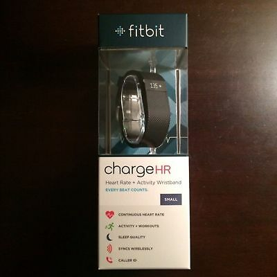 BNIB Authentic Fitbit Charge HR Heart Rate Small Black Exercise Tracker
