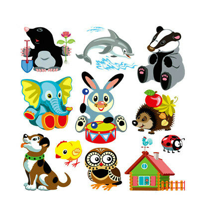 1set Cute Animal Patches Iron on Patches for Clothes Baby Children's T-shirt DIY