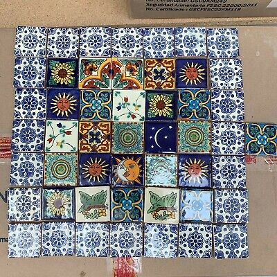 50 x Mixed 5cm Mexican Talavera Style Tiles (Seconds)