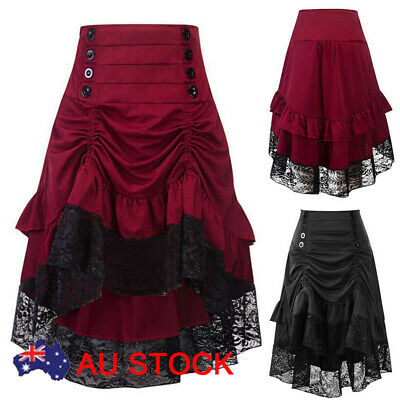 AU Women Lace Victoran Skirt Ladies Gothic Steampunk Corset Vintage Party Dress