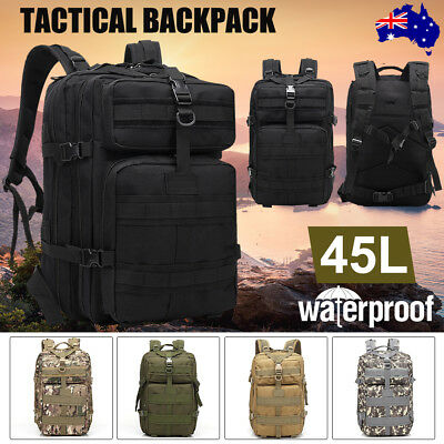 Waterproof 45L Hiking Camping Bag Military Tactical Trekking Backpack Travel