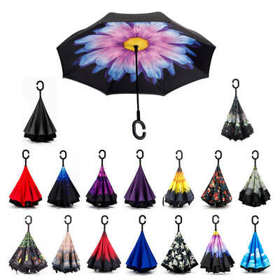 C-Handle Upside Down-Reverse Double Layer Umbrella Windproof Inside-Out Hot MIK