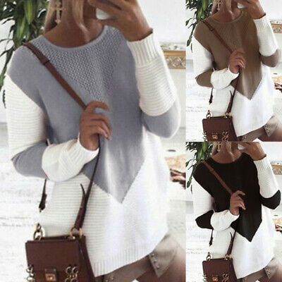 AU Women Long Sleeve Patchwork Sewater Winter Casual Knitted Jumper Pullover Top