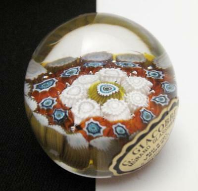 Vintage Italian Murano Millefiori Cane Art Glass Paperweight G. Giacobbe Label