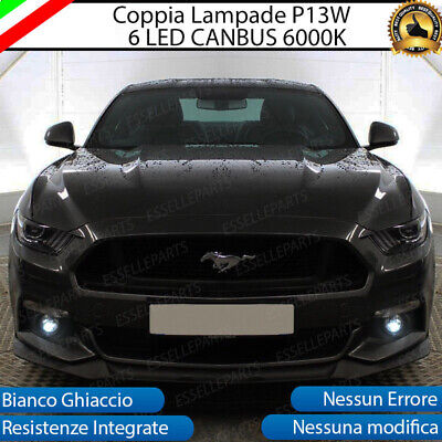 Coppia Luci Diurne Drl 18 Led Con Lente Frontale P13W Canbus Ford Mustang 6000K