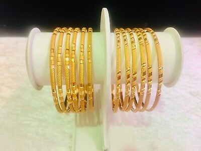 Gold Plated Indian Bangles Bollywood Style Traditional 6 Pc Chudi size 2.4