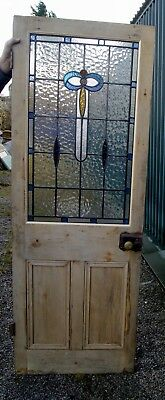 A great Stripped pine stained glass internal door