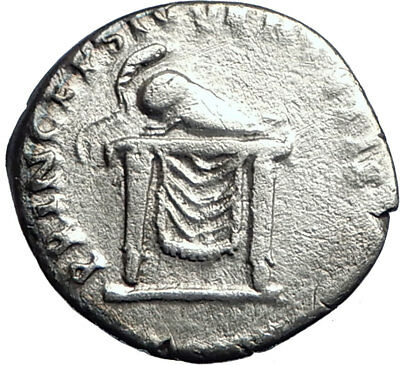 DOMITIAN son of Vespasian 80AD Silver Ancient Roman Coin Throne Helmet  i74192