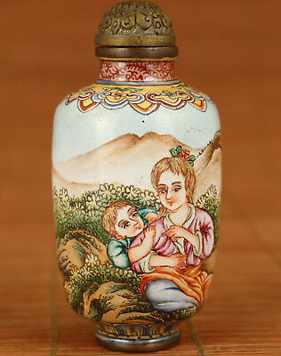 Exquisite chinese old Cloisonne Hand Painting Mother And Son Statue Snuff Bottle