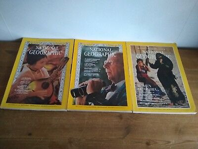 Job lot National Geographic 3 issues 1966 & 1987. Craft projects.