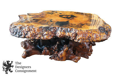 California Buckeye Burl Wood Slab Free Form Coffee Table Mid Century Stardust