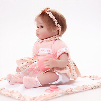 17inch Simulation Vinyl Reborn Girl Doll in Pink Clothes with Accs Playmate