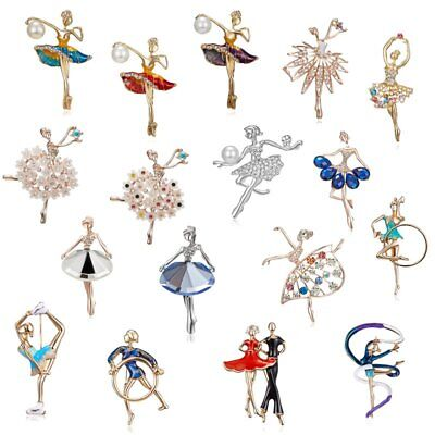 Elegant Women Hollow Crystal Pearl Flower Dancing Girl Brooch Pin Jewelry Gift
