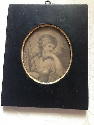 Lovely Antique 19th Century English Miniature Portrait Engraving of Young Girl