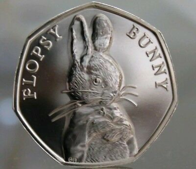 Flopsy Bunny - Beatrix Potter 50p Fifty Pence coin 2018 - Uncirculated