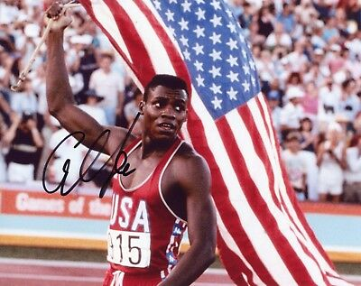 """~~ CARL LEWIS Authentic Hand-Signed """"1984 GOLD MEDAL USA OLYMPICS"""" 8x10 photo ~"""