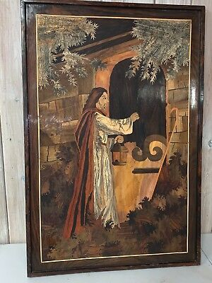 "Handmade LARGE Marquetry Wood Inlay Art Wall Hanging ""JESUS ART"""