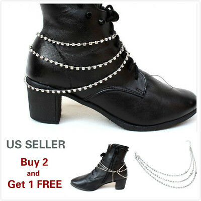 Women's Metal Silver Crystal Boot Chain Anklet Bracelet with Charms Style E