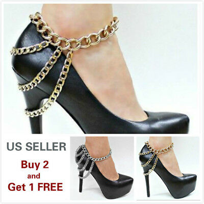 Women's Metal Gold Silver Boot Heels Chain Anklet Bracelet with Charms Style F
