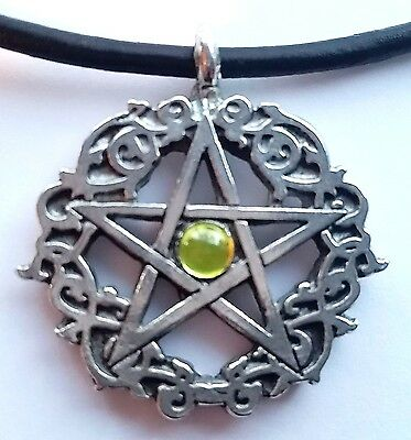 "Peridot Colored Celtic Pentacle  Pagan 16"" inch Necklace Crystal Pewter Pendant"