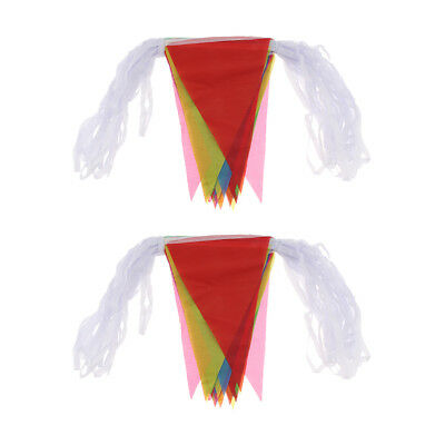 Multicolor Flags Triangle Banner DIY Bunting Pennant Wedding Party Decor 40m
