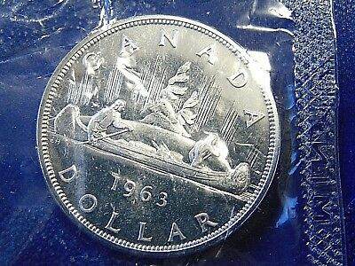 CANADA HIGH GRADE proof like PL Canadian 1963 .800 silver dollar sealed