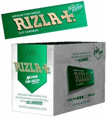 GENUINE PACK RIZZLA GREEN STANDARD ROLLING PAPER 100 booklet full box