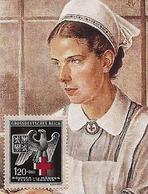 Original Nazi Germany 3rd Third Reich B&M WW2  Red Cross Eagle stamp MNH