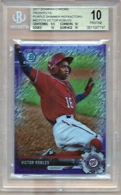 "2017 Bowman Chrome PURPLE SHIMMER REF ""VICTOR ROBLES"" Rookie BGS 10 - PRISTINE"