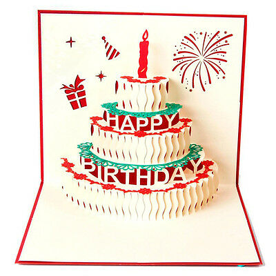Greeting 3D Pop Up Cards Birthday Cake Candles Happy Birth Day Custom Red Gold