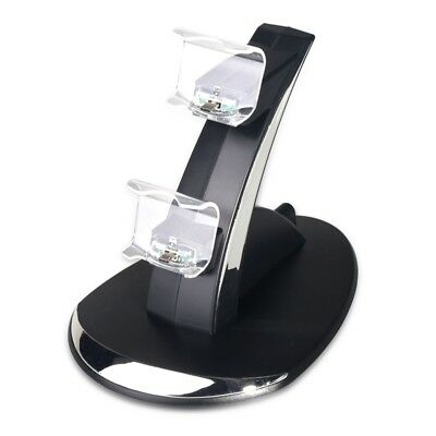 2X(LED Dual USB Charging Charger Dock Stand Cradle Docking Station for Sony Y4G8