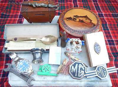 Job Lot Old Collectables~Treen~Prayer Book~Mg Badges~Cat Corkscrew~Watch~Fairing