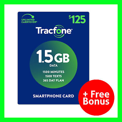 TracFone 1 Year $125 Plan Refill Reload 1500 Min/Text/MB SmartphoneOnly + Bonus