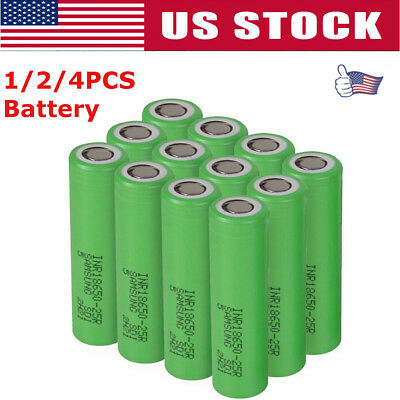 1/2/4Pc 18650 Samsung- 2500mAh 35A Rechargeable Battery for Vape Mods Free Case