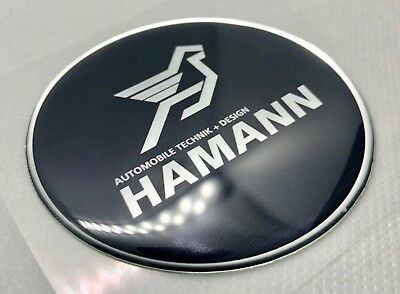 1 pcs.of Hamann Logo Badge 3D Domed Stickers. Silver black. 68 mm