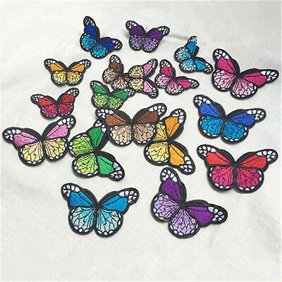2x Embroidery Butterfly Sew On Patch Sticker Badge Embroidered Fabric Applique L