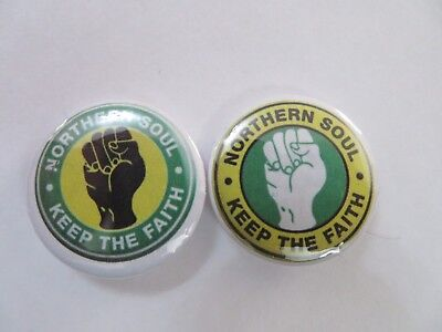 In The Colours Of Glasgow Celtic - Northern Soul 25mm Button Badges x 2.