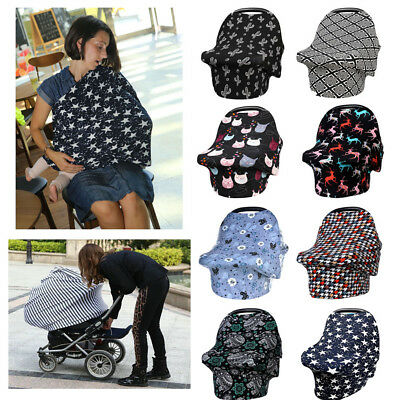 Baby Car Seat Cover Canopy Nursing Cover Multi-Use Stretchy Infinity Scarf Cover
