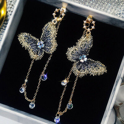 Fashion Embroidery Butterfly Crystal Tassel Chain Drop Earrings Women Jewelry