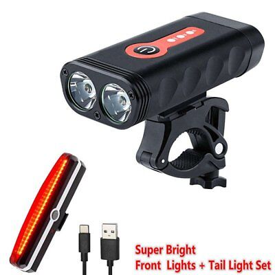 Bright USB Rechargeable T6 LED Bike Bicycle Cycling Front Light + Rear Tail Set