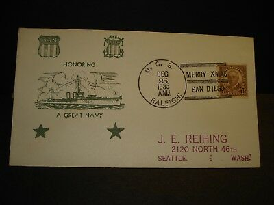USS RALEIGH CL-7 Naval Cover 1935 CHRISTMAS Cachet