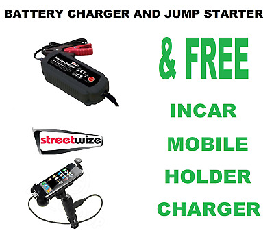 Streetwize Intelligent 12v Amp Car Battery Charger SWIBC5 & Phone Holder/Charger