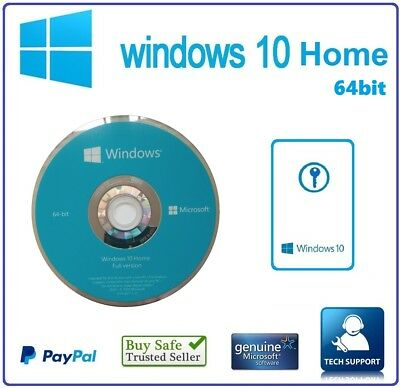 Microsoft Windows 10 HOME 64Bit DVD Disk & 1 PC LIcense Key Card  Full Version