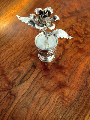 Egyptian 900 Silver Petalled Rose and Vase with Floral Decoration: No Monograms