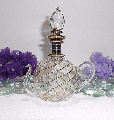 Exquisite Glass Perfume Bottle, Hand Blown & Hand Painted - Purples BG63
